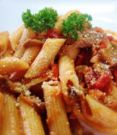 spicy tuna and mushroom penne pasta
